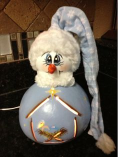 Nativity Snowman Lighted Gourd by Gourdsandgifts on Etsy, $25.00