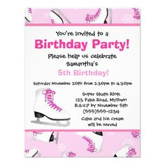Pink Ice Skating Birthday Party Custom Announcements