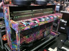 This is coldplay's piano they use in concert. Its all graffittied and looks freakin awesome!