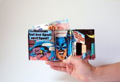BATMAN D.C. wallet comic upcycling unique piece from PauwPauw on Etsy
