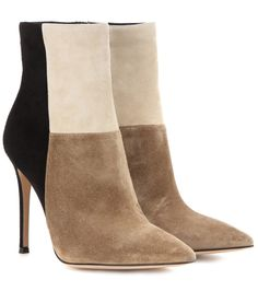 Gianvito Rossi - Suede ankle boots - In contrasting panels of cream, beige and black suede, these boots from Gianvito Rossi are perfect for modern, sophisticated looks. With a pointed toe and pin-thin heel, they have endless sleek appeal. Try them with a crisp blazer to keep it chic. seen @ www.mytheresa.com