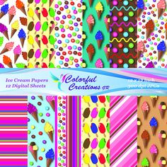 Ice Cream Set Digital Papers For Personal And Commercial Use