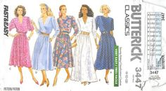 BUTTERICK 3447 - FROM 1989 - UNUCT - MISSES DRESS
