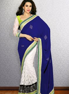 #KarishmaKapoor white and blue bollywood replica #saree shop with #craftshopsindia