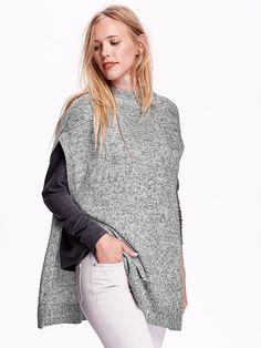 Marled Mock-Neck Poncho Sweater
