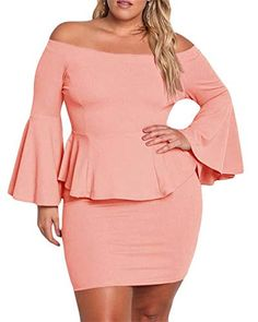 ebfdc9d685ead Womens Plus Size Peplum Dresses Off The Shoulder Bell Sleeve Ruched Sexy  Mini Party Dress Modern