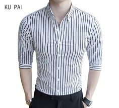 2017 summer new yuppie gentleman winds male business striped shirt sleeves men casual black and white shirt men...