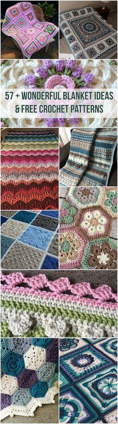 57 + Wonderful Blanket Ideas & Free Crochet Patterns! Baby blanket, afghan, throw all free crochet patterns and baby blanket ideas! #crochet