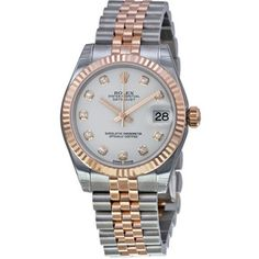 Rolex Datejust Automatic White Dial Stainless Steel and 18kt Rose Gold Ladies Watch