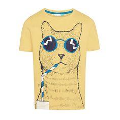 John Lewis Boys' Cool Cat T-Shirt, Yellow.