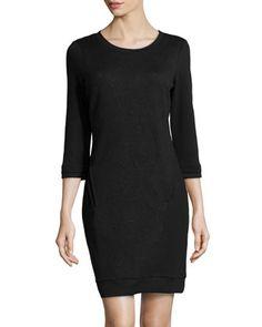 Geometric Jacquard Paneled Sheath Dress, Black by Neiman Marcus at Neiman Marcus Last Call.