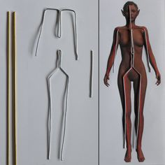 tut- wire armature, rod for support, foil for under-sculpt and wrap with tape.
