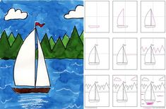 Draw a Sailboat - Art Projects for Kids Art Drawings For Kids, Drawing For Kids, Animal Drawings, Art For Kids, Drawing Ideas, Simple Drawings, Drawing Drawing, Kid Art, Drawing Lessons