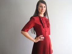 Красное платье винтаж от woolpleasure на Etsy