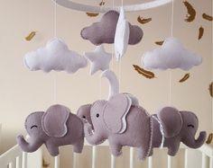 Bambino di elefante elefante mobile, mobile, unisex elefante del bambino grigio, mobile mobile, vivaio mobile, cloud e mobile stelle, bambino doccia dono,