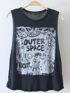 RESTOCKING Monday May 5th 6:00pm cali time  Adorable black muscle tank with doodle-like space graphic on front!  Measurements from a Size SMALL (Add half inch for each size up) Length: 24 inches Bust: 12 inches (left to right)  Cotton/Modal Blend Made in USA