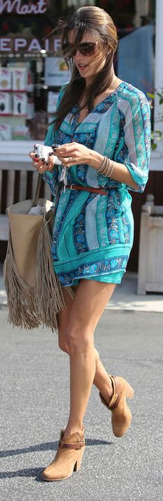 Who made Alessandra Ambrosios green print dress and brown boots that she wore in Los Angeles?