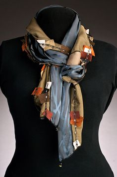 Love the extra dimension from the patched pieces - Elizabeth Garver Artwear | Scarves