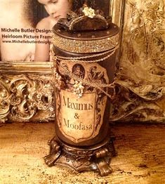 Michelle Butler Designs Pet Treat Jars. Custom tea stained vintage inspired labels and drenched in jewels. ❤️❤️ SHOP www.crownjewel.design