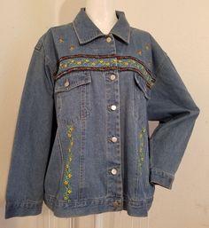 3X Northwest Blue Denim Floral Embroidered Boho Hippie Long Sleeve Jacket EUC #NorthwestBlue #JeanJacket #Casual