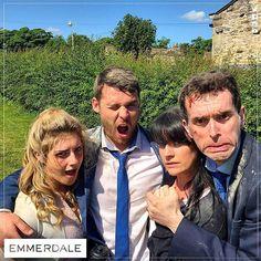 Isabel Hodgins (Victoria Sugden), Danny Miller (Aaron Livesy), Laura Norton (Kerry Wyatt) & Mark Charnock (Marlon Dingle) (August 2015)