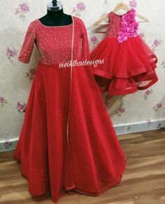 Mom Daughter Matching Outfits, Mommy Daughter Dresses, Mother Daughter Fashion, Birthday Girl Dress, Birthday Dresses, Kids Gown, Fashion Kids, Hyderabad, Bro