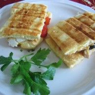 Oopsie Panini - Bread free! made with eggs, cream cheese, cream of tartar and splenda. Genius!