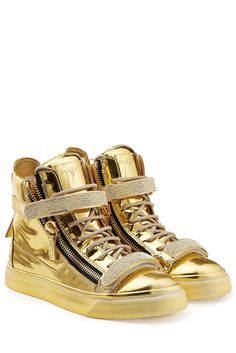 #Giuseppe #Zanotti #High, #Top, #Sneakers aus #Lackleder #, #Gold für #Damen…