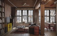 Interior Home Design Architecture. Splendid Industrial Home Design Ideas. Remarkable Industrial Loft Design Ideas With Wooden Floor And Brown Brick Exposed Walls And Stylish Furniture Together With Ceiling Fan. Industrial Home Design Loft Estilo Industrial, Industrial Interior Design, Industrial House, Industrial Interiors, Industrial Style, Industrial Windows, Industrial Apartment, Industrial Furniture, Industrial Kitchens