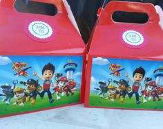 Paw Patrol Birthday Party Paper Favor Boxes | Paw Patrol Favor Boxes / Favor Bags.  12 pcs