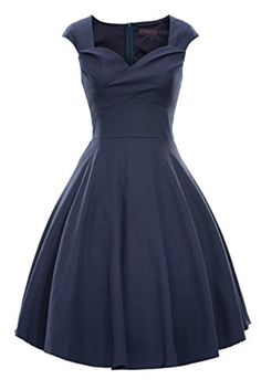 iLover Womens 1950s Style Vintage Rockabilly Swing Party Dress * Continue to the product at the image link.