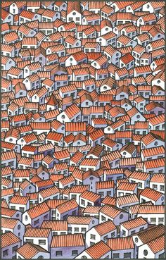 Little houses - Miguel Herranz http://society6.com/MiguelHerranz/Little-Houses-KK5_Print
