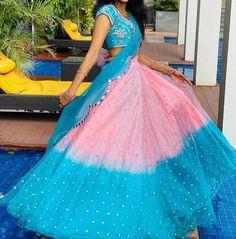 Kids Blouse Designs, Saree Blouse Neck Designs, Half Saree Designs, Indian Gowns Dresses, Indian Fashion Dresses, Indian Designer Outfits, Half Saree Lehenga, Lehenga Saree Design, Frocks For Girls