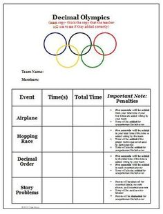 Decimal Olympics Math Games and Activities (Common Core)