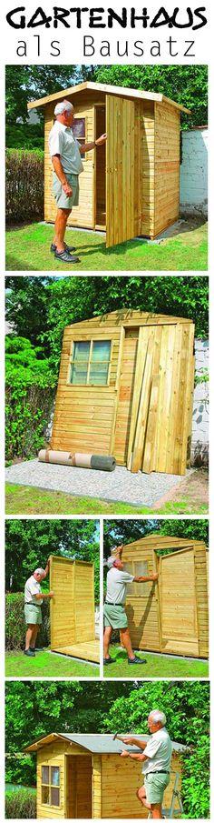 Mit einem Bausatz steht das Gartenhaus im Nu. Wir zeigen, wie man die hölzerne Hütte baut.