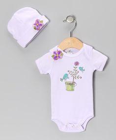 Look at this #zulilyfind! Truffles Ruffles Violet Flower Bird Bodysuit & Beanie - Infant by Truffles Ruffles #zulilyfinds