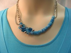 Fabric Wrapped Chain Necklace / Aqua Turquoise by mjhcreative, $20.00