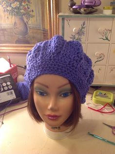 Purple crocheted hat Adult size. 25.00