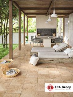 Pergola In Front Yard Outside Living, Outdoor Living, Outdoor Decor, Exterior Gris, Patio Tiles, Grey Tiles, Indian Home Decor, Backyard Patio, Terrace