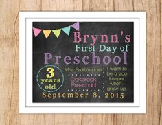 First Day of School Sign Last Day of School Personalized Chalkboard Printable Photo Prop Pastel Rainbow Banner Any Grade JPEG or PDF file by MoonshyneDesigns on Etsy https://www.etsy.com/listing/238811562/first-day-of-school-sign-last-day-of