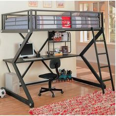 metal bunk style loft bed with desk $ 765 00 this full size metal bunk ...