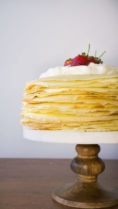 Lemon Crepe Cake filled with whipped cream and lemon curd — Amanda Frederickson just so gorgeous to look at - want to try - just wonder how one gets all the crepes exactly same size-can't wait to dig in Lemon Whipped Cream, Lemon Curd, Lemon Desserts, Just Desserts, Dessert Recipes, Crape Cake, How To Make Crepe, How To Make Pancakes, Let Them Eat Cake