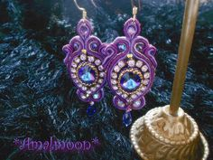 Iris Soutache Embroidered EarringsVintage Swarovski by Amalmoon, $185.00