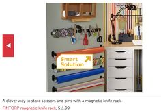 Magnetic knife strip to store scissors and pins