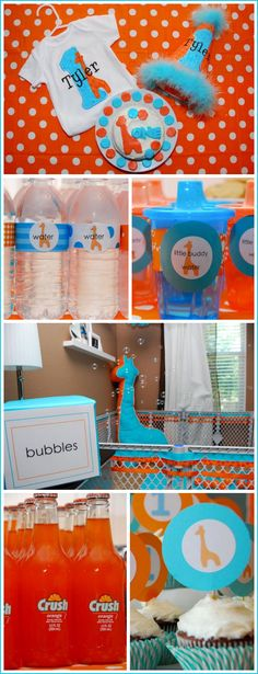 giraffe, blue and orange first birthday party