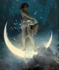 Spring Scattering Stars by Edwin Blashfield, 1927 - Moon Art - Moon Goddess Print - Vintage Woman and Child Celestial Pagan Art Art And Illustration, Fantasy Kunst, Fantasy Art, Kunst Online, Moon Magic, Moon Goddess, Goddess Art, A4 Poster, Moon Art