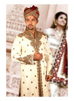 Shop for original Off White Jacquard, Silk Sherwani with Churidaar (CODE:SRT0110129) online. 100% authentic. Free Shipping in India and across world (over $300)