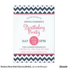 Modern Navy Pink Chevron Birthday Party 5x7 Paper Invitation Card