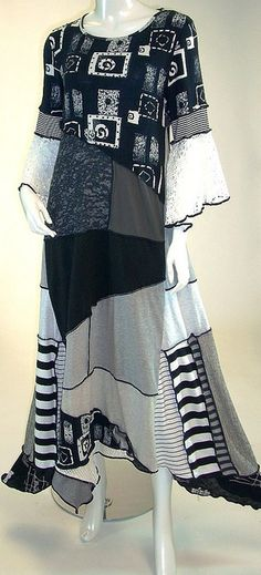 Great idea for upcyling project. Hey Kathryn, this ones for you :) Black White and Grey , Fit and Flare Cotton Jersey Bell Sleeve Dress , Size Medium Diy Clothing, Sewing Clothes, Mode Baroque, Altered Couture, Mode Chic, Recycled Fashion, Special Dresses, Bell Sleeve Dress, Bell Sleeves