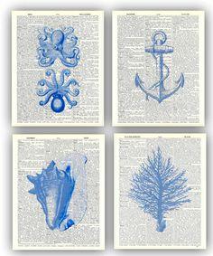 Nautical art, sea fan, octopus, seashells, coral, anchor, Ocean Blue nautical Prints, beach cottage decor, set 4 Print Dictionary, 8x10